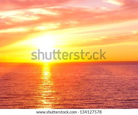 Bright Horizon Setting Sun - stock photo