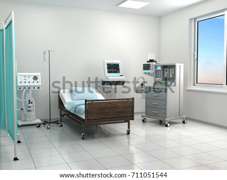bright hospital room with equipment. 3d illustration