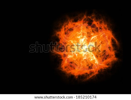 bright hot planet on a dark backgrounds - stock photo