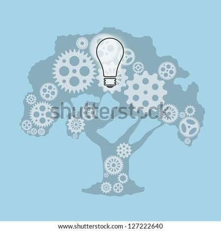 Bright idea and teamwork concept - stock photo