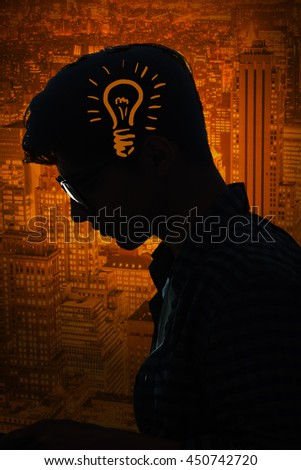 Bright idea concept with light bulb and man - stock photo