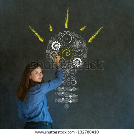 Bright idea gear cog lightbulb thinking business woman - stock photo