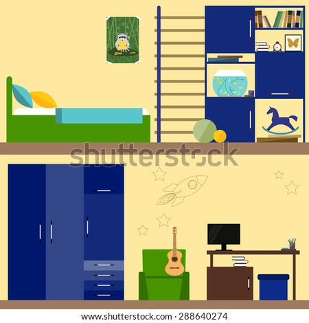 bright illustration in trendy flat style with children room interior for use in design for card, invitation, poster, banner, placard or billboard cover. Raster copy
