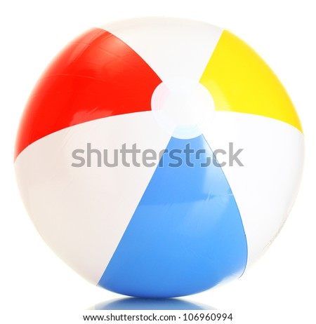 bright inflatable ball isolated on white - stock photo