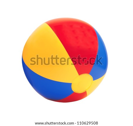 bright inflatable ball isolated on white background - stock photo