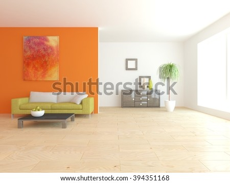 bright interior design of living room with colored furniture - 3d illustration - stock photo