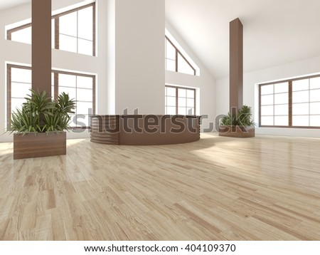 bright interior design of modern house with wooden reception place - 3d illustration - stock photo