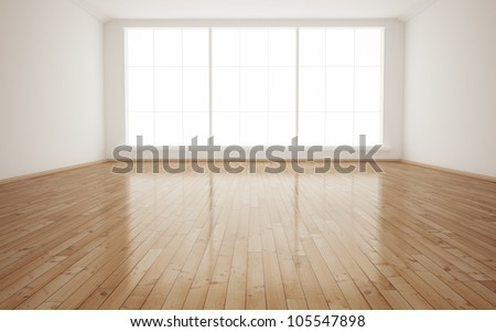 Bright Interior Empty Room 3D render - stock photo