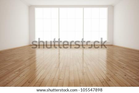 Bright Interior Empty Room 3D render - stock photo
