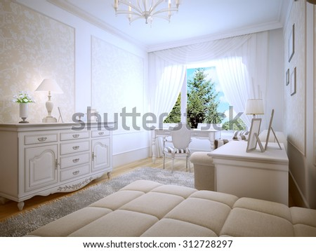 Bright interior of teen bedroom. 3D render