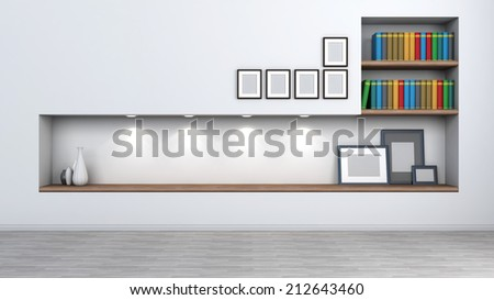 Bright interior with a shelf for books and accessories / ATTENTION REVIEWER: Please see Admin about this batch, case #01133144 - stock photo