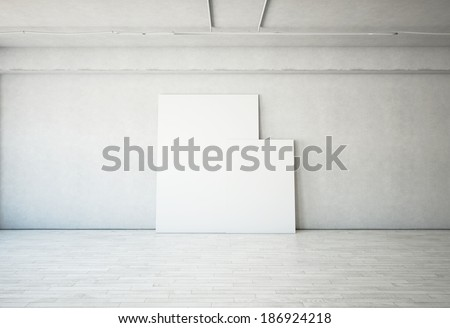 Bright interior with blank posters - stock photo