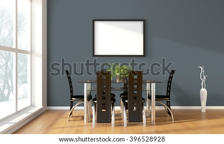 Bright interior with frame in a modern style . 3D rendering