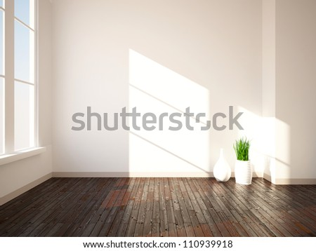 bright interior with wooden floor and vases - stock photo