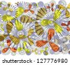 Bright  intricate modern floral and geometric abstract design superimposed on plain  white background. - stock vector