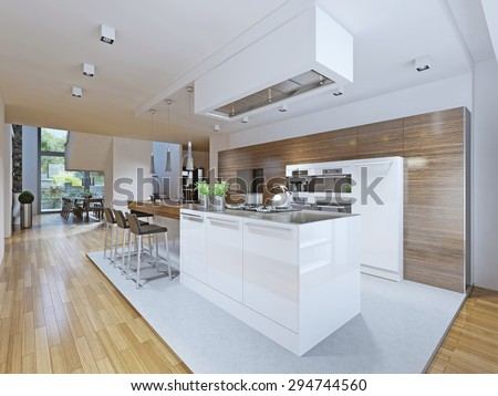 Bright kitchen avant-garde style. Kitchen cabinets and countertop bar with dark wood texture and kitchen appliances made in white. 3D render - stock photo