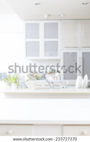 Bright kitchen background - stock photo