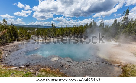 Bright landscape of blue geyser, green forest and blue sky. Back Basin of Norris Geyser Basin. Yellowstone National Park, Wyoming