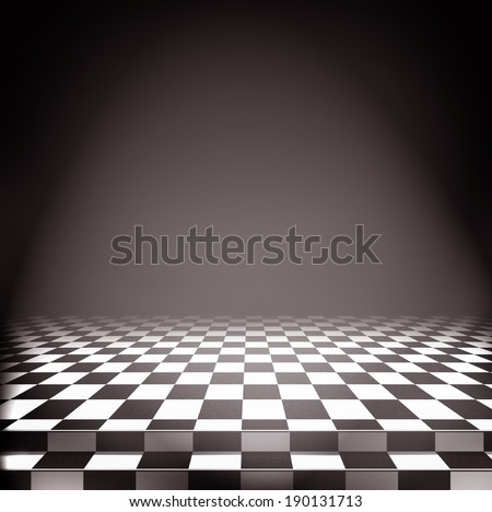 Bright light falls on the checkerboard floor, sepia