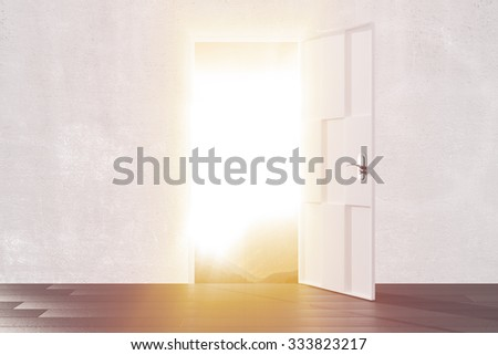 Bright light from the open door of empty room