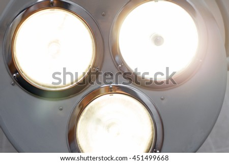 Bright light from the operating lamp. Medical equipment - stock photo