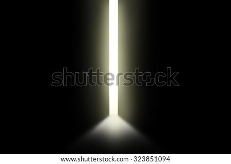 Bright light through an open door in empty room - stock photo