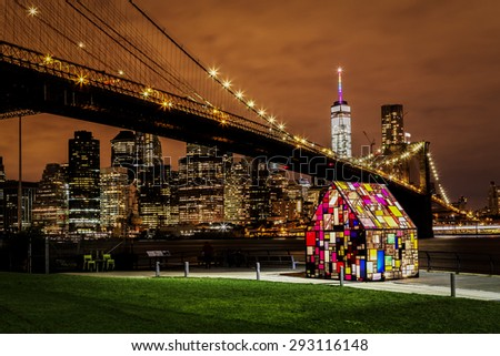 Bright lights of New York City at night. - stock photo