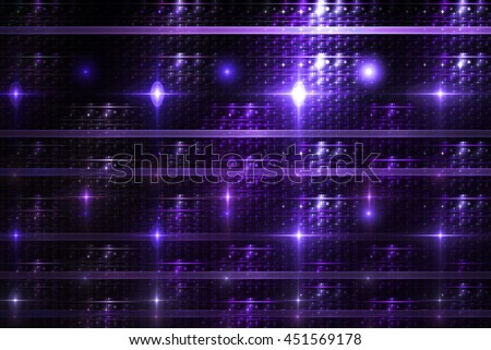 Bright lines and sparks on black background. Fantasy geometric fractal design in deep blue and purple colors. 3D rendering. - stock photo