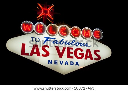 Bright lit Welcome Las Vegas sign under the night sky