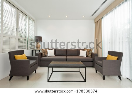 Bright Living room with grey sofa and minimalistic decoration - stock photo