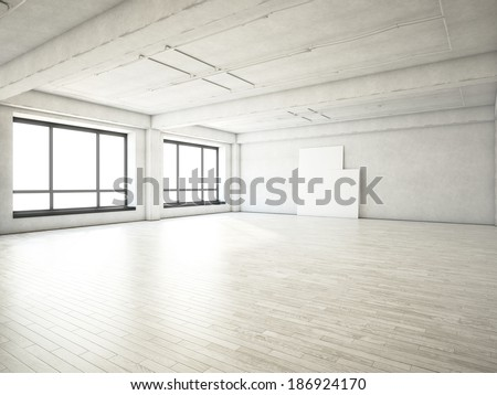 Bright loft and two blank posters on a wall - stock photo