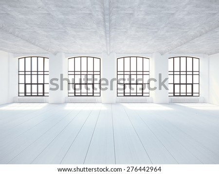 Bright loft with large windows. 3D rendering - stock photo