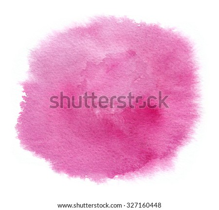 Bright magenta watercolor stain with watercolour paint stroke - stock photo