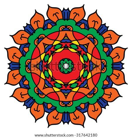 Bright mandala. Isolated round element. - stock photo