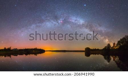 Bright Milky Way over the lake at night (panoramic photo) - stock photo