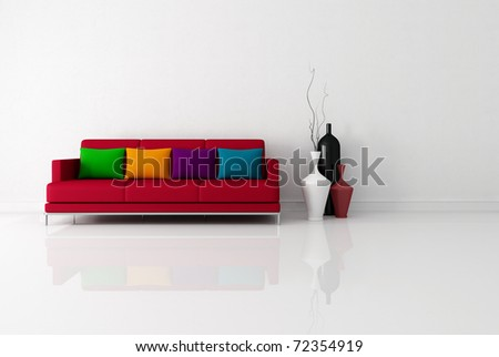 bright minimalist living room with red fabric couch with pillow - rendering - stock photo