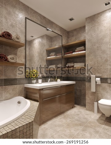 Bright modern bathroom 3d render stock illustration 269191256 shutterstock - Lavish white and grey kitchen for hygienic and bright view ...