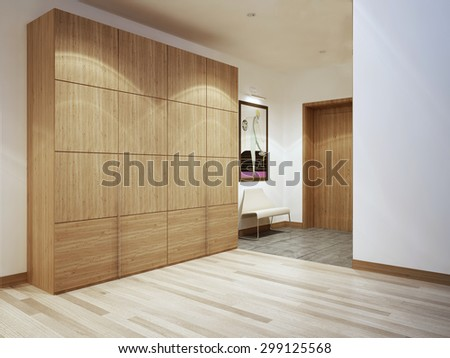 Bright modern corridor with mixed flooring. 3D render - stock photo