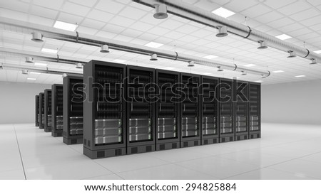 bright modern data center with server computer for cloud computing (3D Rendering) - stock photo
