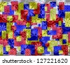 Bright modern geometric design in red yellow and blue  with floral motifs superimposed  and perfect for wallpapers and backgrounds - stock photo
