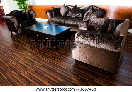 Bright modern interior Design with hard wood flooring. - stock photo