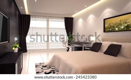 bright modern interior of hotel room or condominium  - stock photo