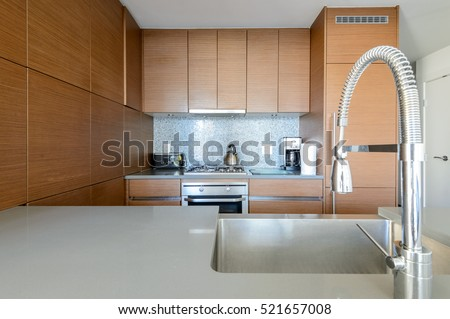 Bright modern kitchen with stainless steel appliances. Interior design.
