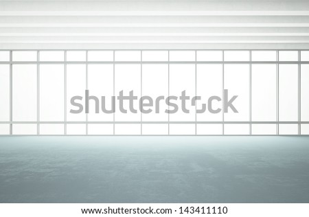 bright modern office with large windows - stock photo