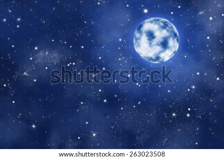bright moon on blue starry night sky with nebula, illustration  - stock photo