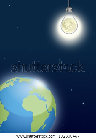 Bright Moon shining on planet Earth from classic light bulb