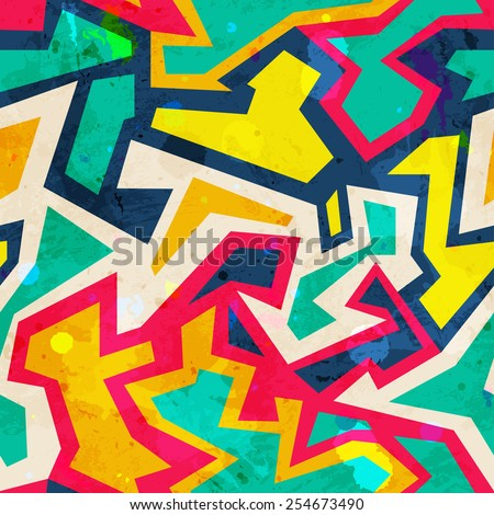 bright mosaic seamless pattern (raster version) - stock photo