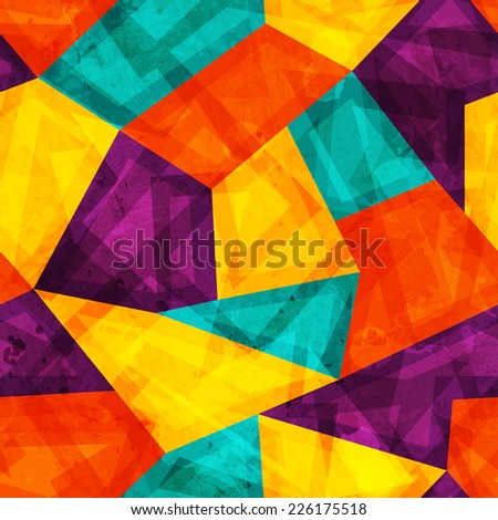 bright mosaic seamless pattern with grunge effect (raster version) - stock photo