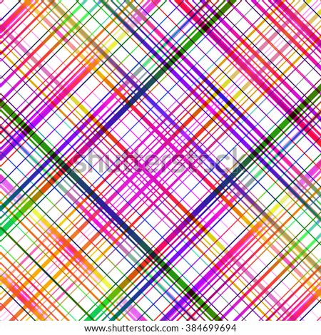 Bright multicolored diagonal grid lines abstract pattern.