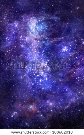 bright nebula gas cloud in deep outer space - stock photo